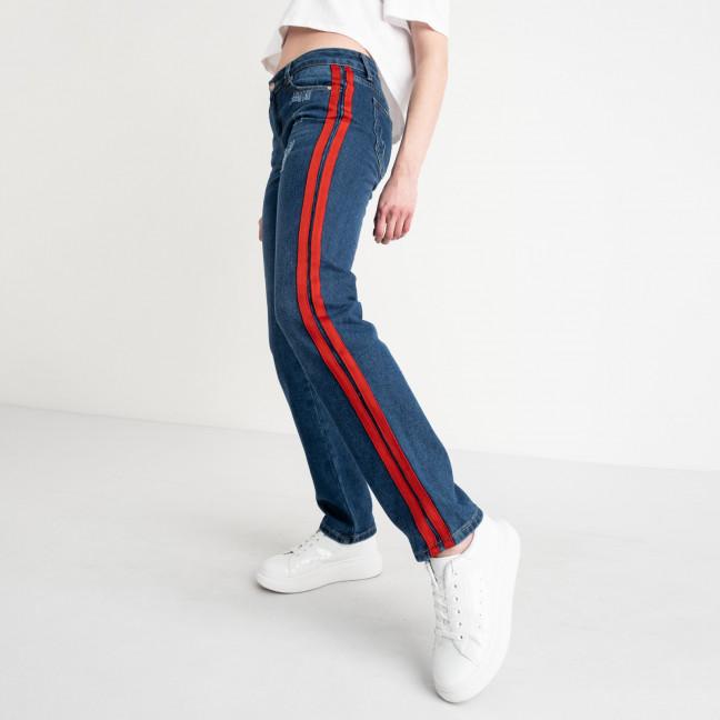 0056 Jushioumfiva джинсы женские синие с красными лампасами котоновые ( 6 ед. размеры: 25.26.27.28.29.30) Jushioumfiva: артикул 1118822