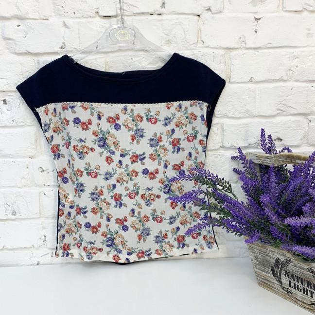 1037 футболка детская темно-синяя с рисунком на девочку 5-7 лет (3 ед. размеры: 110.116.122) Маленьке сонечко: артикул 1121544
