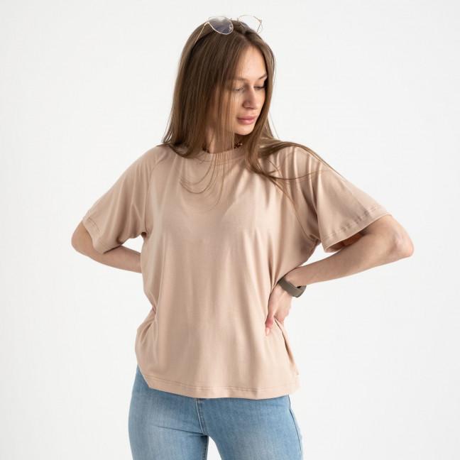 14440-3 Mishely бежевая футболка женская в стиле oversize  (4 ед. размеры: S.M.L.XL) Mishely: артикул 1122110