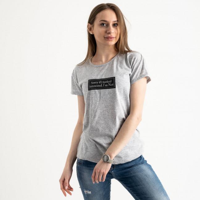 2571-5 серая футболка женская с принтом (3 ед. размеры: S.M.L) Футболка: артикул 1119151