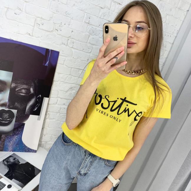 2400-6 желтая футболка женская с принтом (3 ед. размеры: S.M.L) Футболка: артикул 1122352