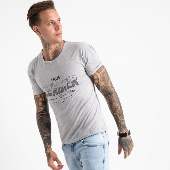 2614-5 серая футболка мужская с принтом (4 ед. размеры: M.L.XL.2XL) Футболка: артикул 1121009