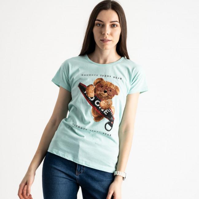 2570-4 бирюзовая футболка женская с принтом (3 ед. размеры: S.M.L) Футболка: артикул 1119148