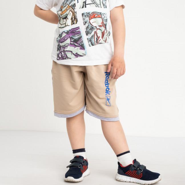 1654 шорты детские на мальчика 6-10 лет бежевые трикотажные (5 ед. размеры: 40.42.44.46.48) Шорты: артикул 1120451