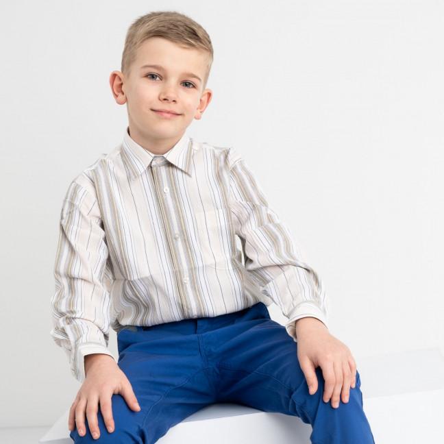 1910 Boston Public бежевая рубашка в полоску на мальчика 7-15 лет (5 ед. размеры: 30/31.32/33.33/34.34/35.35/36) Boston Public: артикул 1118418