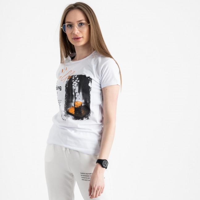 2504-10 Akkaya белая футболка женская с принтом стрейчевая (4 ед. размеры: S.M.L.XL) Akkaya: артикул 1119822