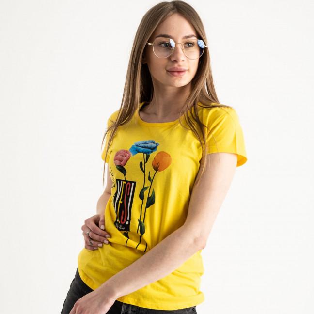 2582-6 желтая футболка женская с принтом (3 ед. размеры: S.M.L) Футболка: артикул 1119211