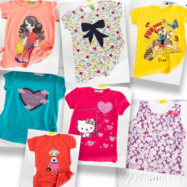 1220 детская футболка на девочку 2-8 лет микс 5-ти моделей (20 ед. без выбора модели) Футболка: артикул 1119125