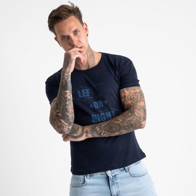 2621-14 темно-синяя футболка мужская с принтом (4 ед. размеры: M.L.XL.2XL) Футболка: артикул 1121065