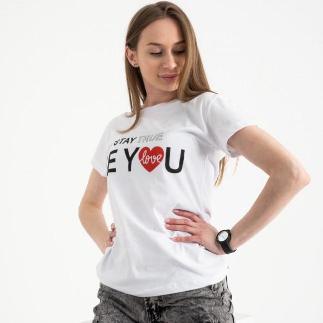 2502-10 Akkaya белая футболка женская с принтом стрейчевая (4 ед. размеры: S.M.L.XL) Akkaya: артикул 1119825