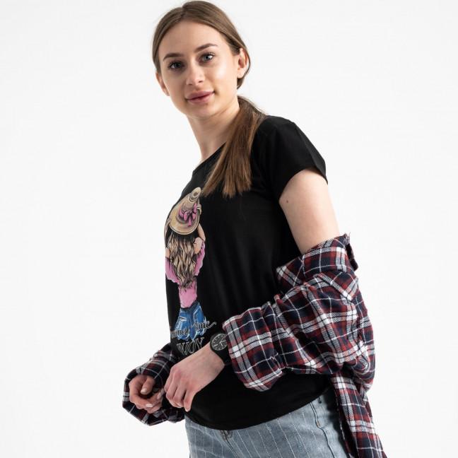 2576-1 черная футболка женская с принтом (3 ед. размеры: S.M.L) Футболка: артикул 1119172
