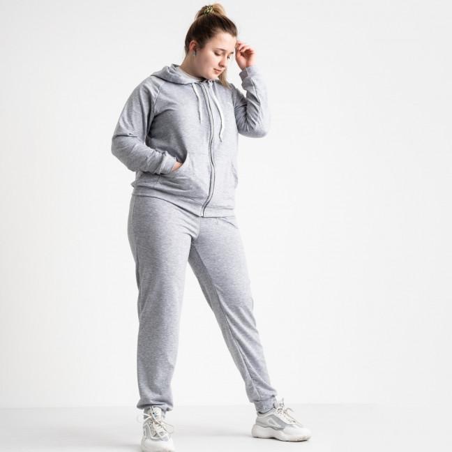 15111-8 серый спортивный костюм батальный женский из двунитки (4 ед. размеры: 50.52.54.56) Спортивный костюм: артикул 1118707