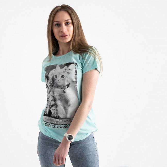 2520-4 Akkaya бирюзовая футболка женская с принтом стрейчевая (4 ед. размеры: S.M.L.XL) Akkaya: артикул 1119776