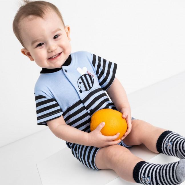 17063 синий комплект (комбинезон+шапочка) на мальчика 1-9 мес.(6 ед. размеры: 62.62.68.68.74.74) Emotion kids: артикул 1118189