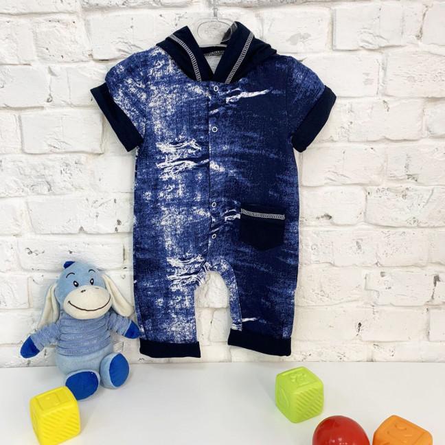 0402-13 синий комбинезон на мальчика 3-9 месяцев (3 ед. размеры: 62.68.74) Маленьке сонечко: артикул 1121826