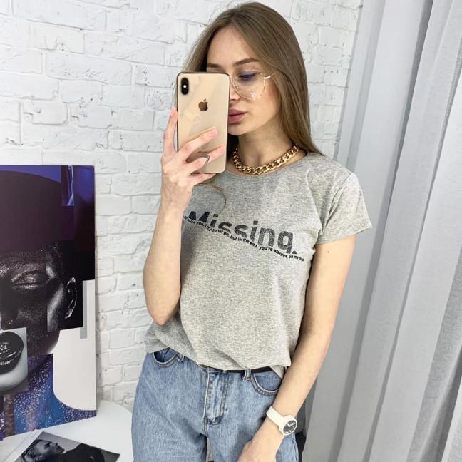 2401-5 серая футболка женская с принтом (4 ед. размеры: S.M.L.XL) Футболка: артикул 1122364