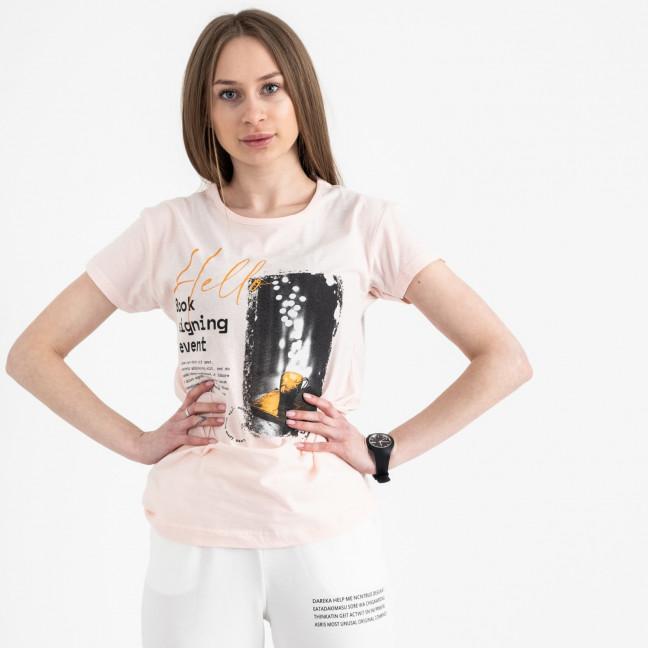 2504-2 Akkaya розовая футболка женская с принтом стрейчевая (4 ед. размеры: S.M.L.XL) Akkaya: артикул 1119818