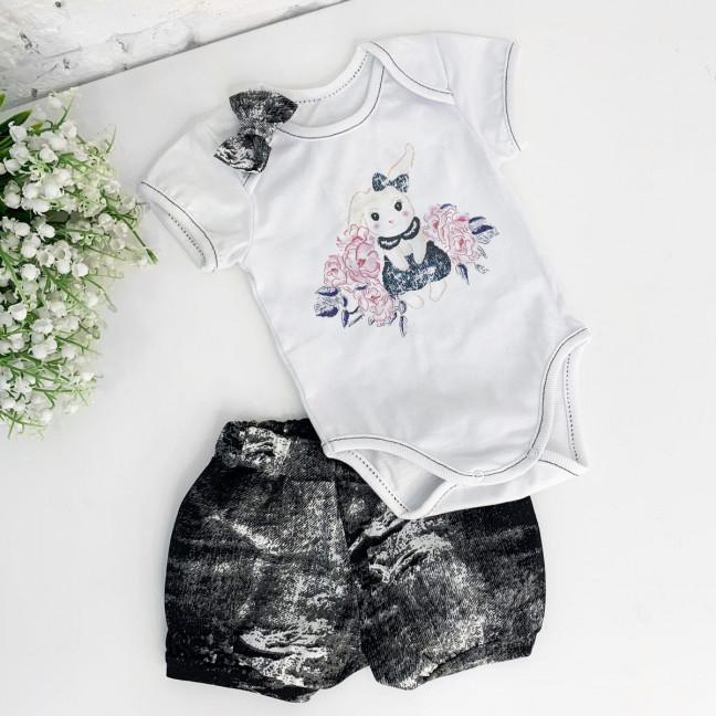 0387-2 детский комплект черный на девочку 3-12 месяцев (3 ед. размеры: 68.74.80) Маленьке сонечко: артикул 1121522