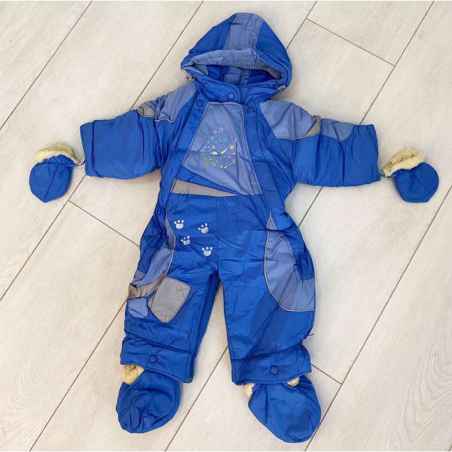 0162-2 Super Clever голубой комбинезон-трансформер на овчине на мальчика от 6 мес до 1,5 года ( 4 ед размеры: 68.74.80.86) Super Clever: артикул 1123605