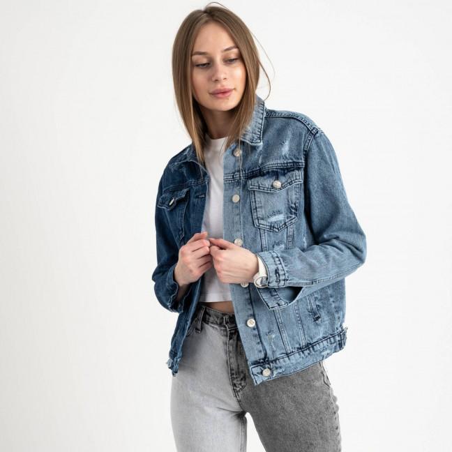 0902 MIss Aura куртка женская двухцветная голубая с синим котоновая  (4 ед. размеры:S.M.L.XL) Miss Aura: артикул 1122330