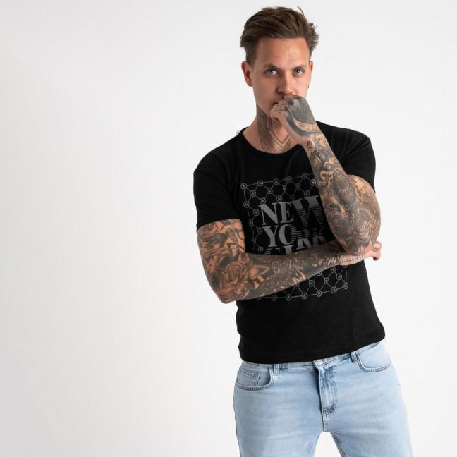 2624-1 черная футболка мужская с принтом (4 ед. размеры: M.L.XL.2XL) Футболка: артикул 1121077