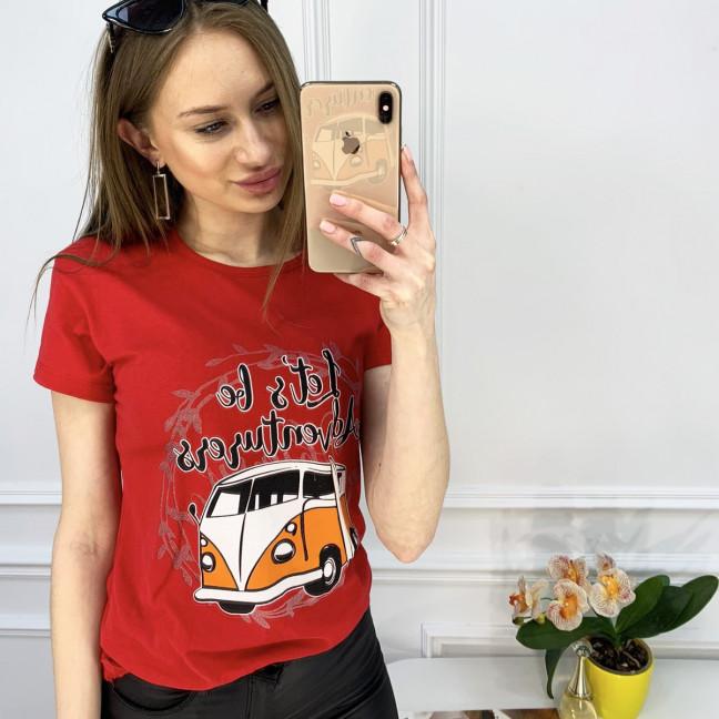 2503-3 Akkaya красная футболка женская с принтом стрейчевая (4 ед. размеры: S.M.L.XL) Akkaya: артикул 1119787