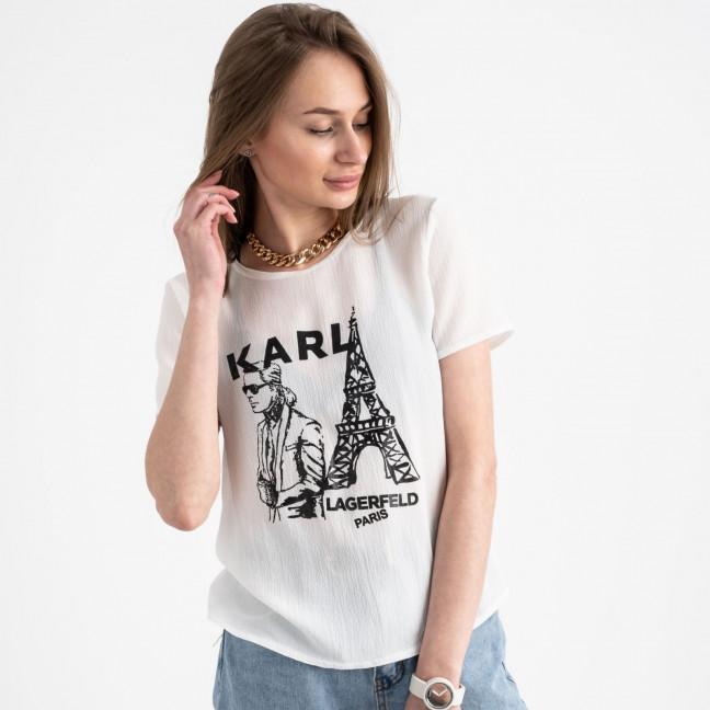 2056-15 футболка молочная женская с принтом (5 ед. размеры: 42.44.46.48.50) Футболка: артикул 1122375