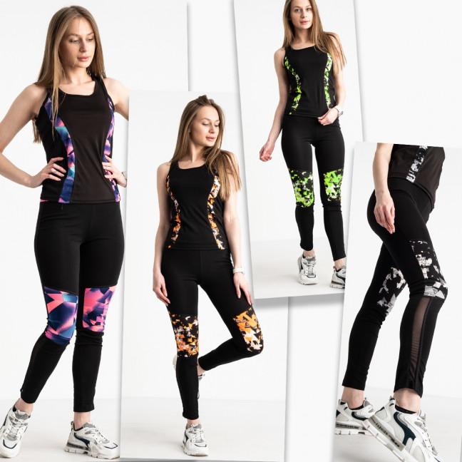 0468-232 фитнес-костюм женский стрейчевый микс цветов (4 ед. размеры: S-M/2, L-XL/2) Без выбора цветов Фитнес-костюм: артикул 1121308_1