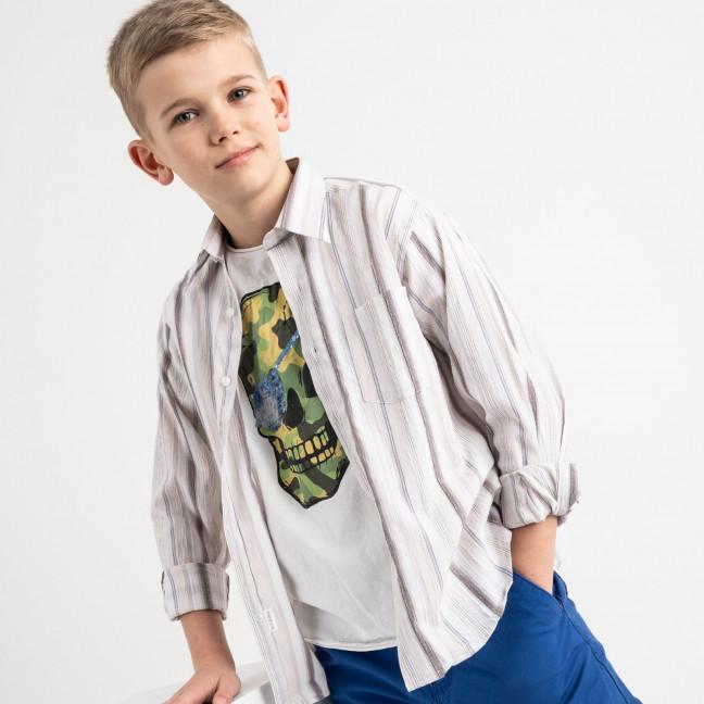 1900 Boston Public бежевая рубашка в полоску на мальчика 7-15 лет (5 ед. размеры: 30/31.32/33.33/34.34/35.35/36) Boston Public: артикул 1118407