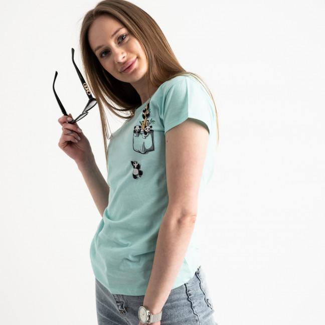 2583-4 бирюзовая футболка женская с принтом (3 ед. размеры: S.M.L) Футболка: артикул 1119218
