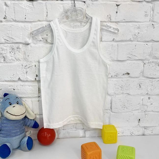 0002-1 майка белая хлопковая на ребенка 2-3 года (5 ед.) Футболка: артикул 1121958