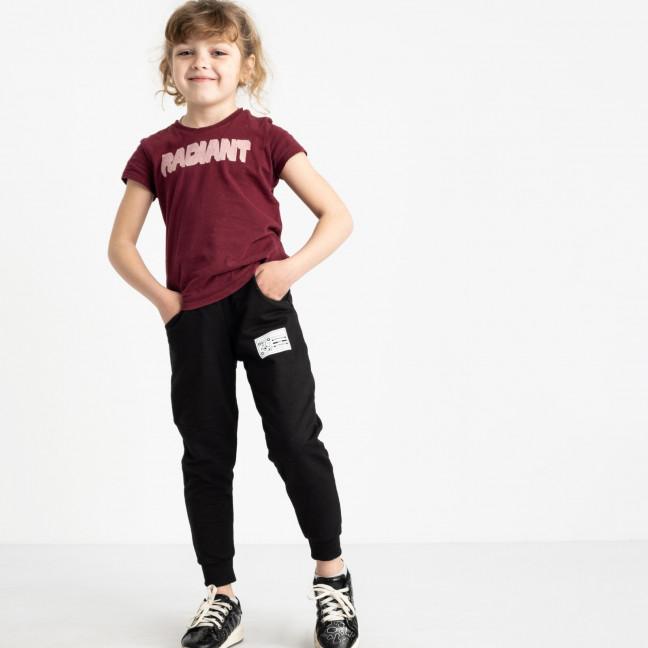 7585-1 черные спортивные брюки из двунитки на девочку 6-10 лет (5 ед. размеры: 28.30.32.34.36) Спортивные штаны: артикул 1119962