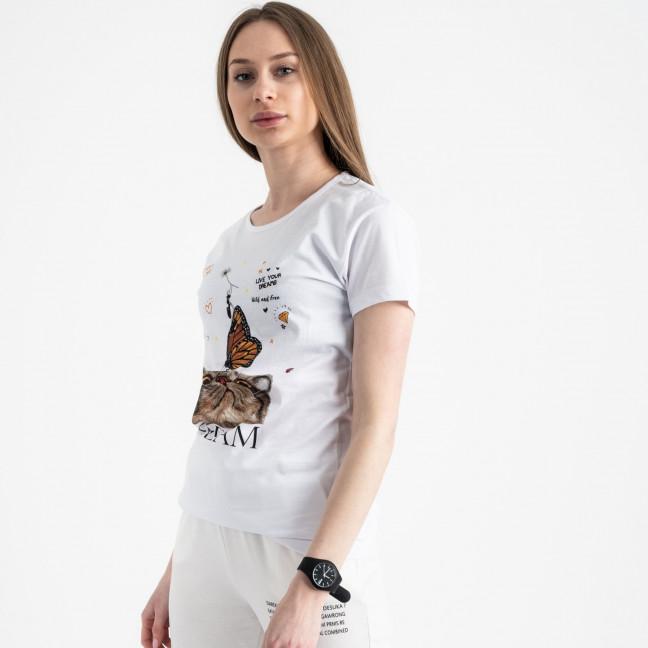 2516-10 Akkaya белая футболка женская с принтом стрейчевая (4 ед. размеры: S.M.L.XL) Akkaya: артикул 1119730