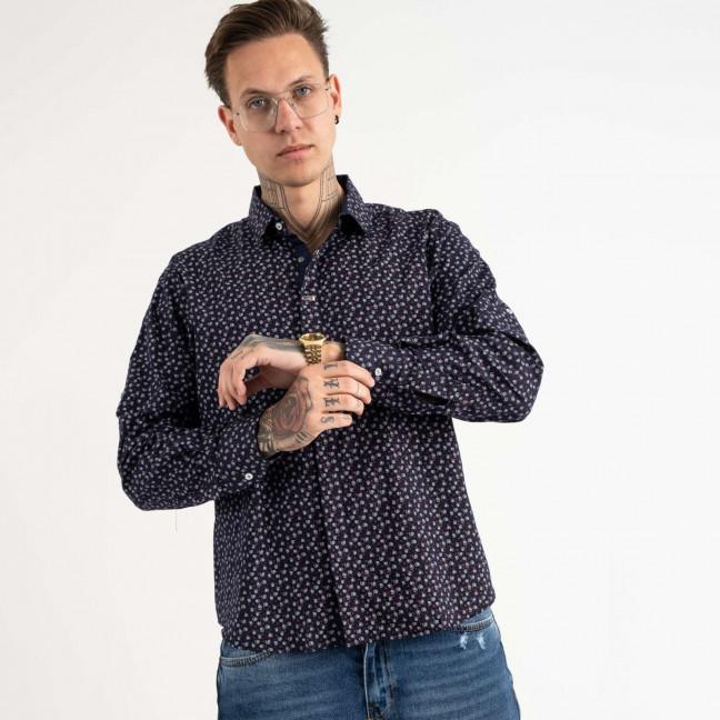 19207 Pierre Chapini темно-синяя рубашка с рисунком (5 ед. размеры: S.M.L.XL.2XL) Pierre Chapini: артикул 1118474