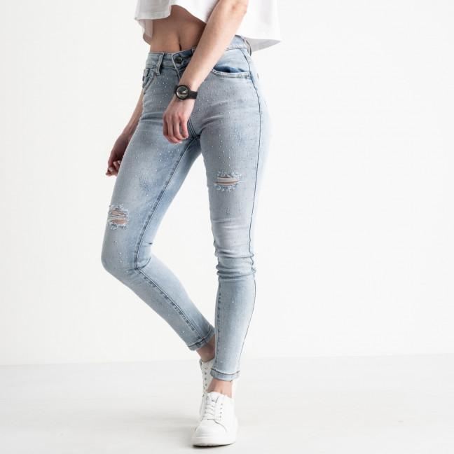 8837 Lolo Blues джинсы женские с рванкой синие стрейчевые (6 ед. размеры: 25.26.27.28.29.30.) Lolo Blues: артикул 1108506