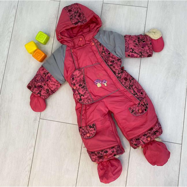 0161-1 JingPin розовый комбинезон-трансформер на овчине на девочку от 1 года до 1,5 лет ( 2 ед размеры: 80.86) Комбинезон: артикул 1123596