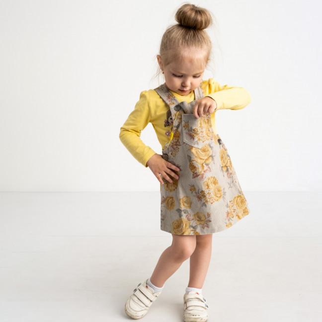 0327 сарафан серый хлопковый с рисунком на девочку 3-5 лет (3 ед. размеры: 98.104.110) Маленьке сонечко: артикул 1121710