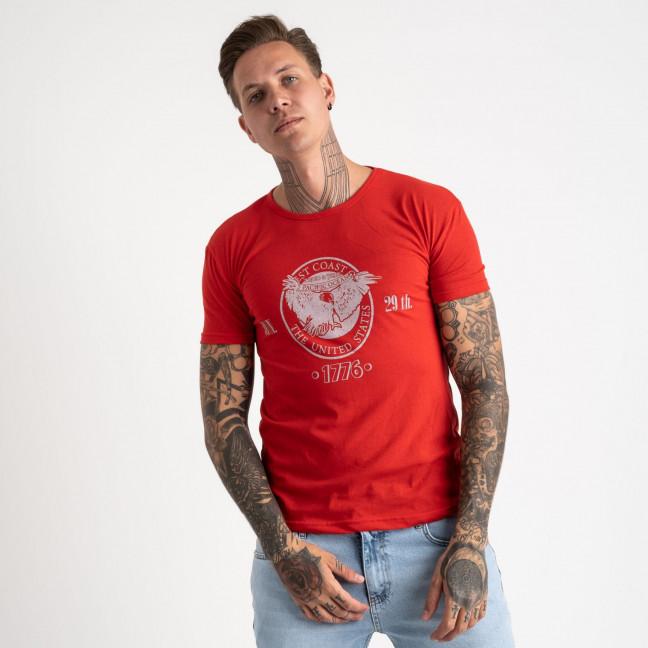2607-3 красная футболка мужская с принтом (4 ед. размеры: M.L.XL.2XL) Футболка: артикул 1120932
