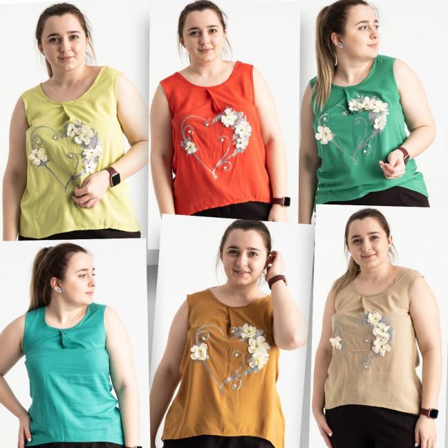 1702 блузка батальная с декоративным рисунком микс из моделей и цветов (6 ед. размеры: 48.50.52.54) Блузка: артикул 1120115