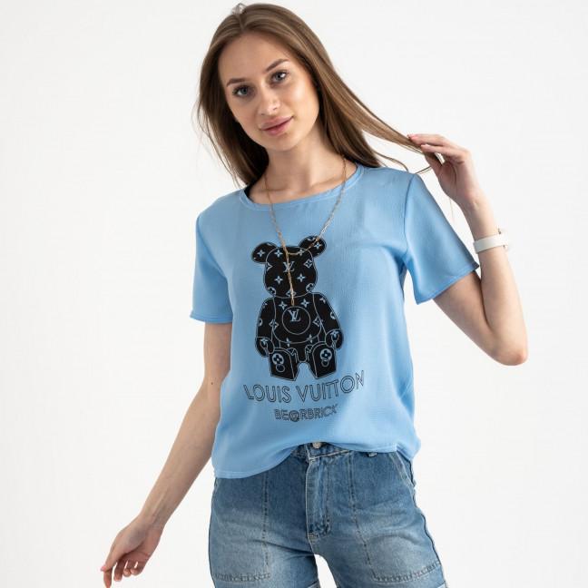2021-13 футболка голубая женская с принтом (5 ед. размеры: 42.44.46.48.50) Футболка: артикул 1122391