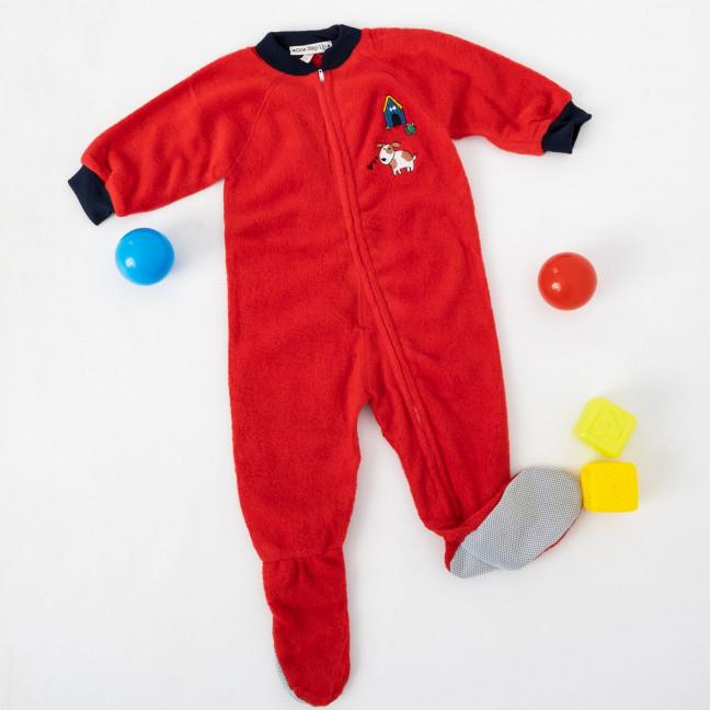 1781-3 красный детский комбинезон-человечек на ребенка 2.5-5 лет на флисе (5 ед. размеры 4.6.7/2.8) Комбинезон: артикул 1120272