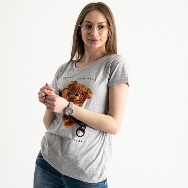 2570-5 серая футболка женская с принтом (3 ед. размеры: S.M.L) Футболка: артикул 1119145