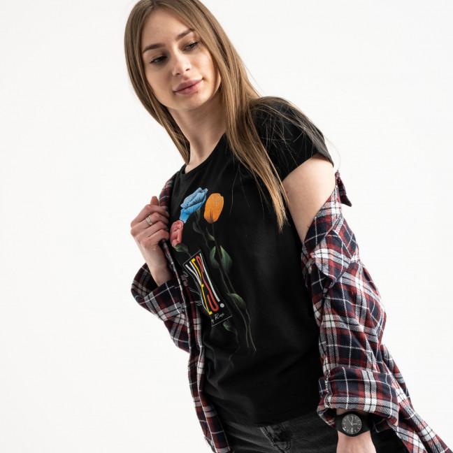 2582-1 черная футболка женская с принтом (3 ед. размеры: S.M.L) Футболка: артикул 1119212