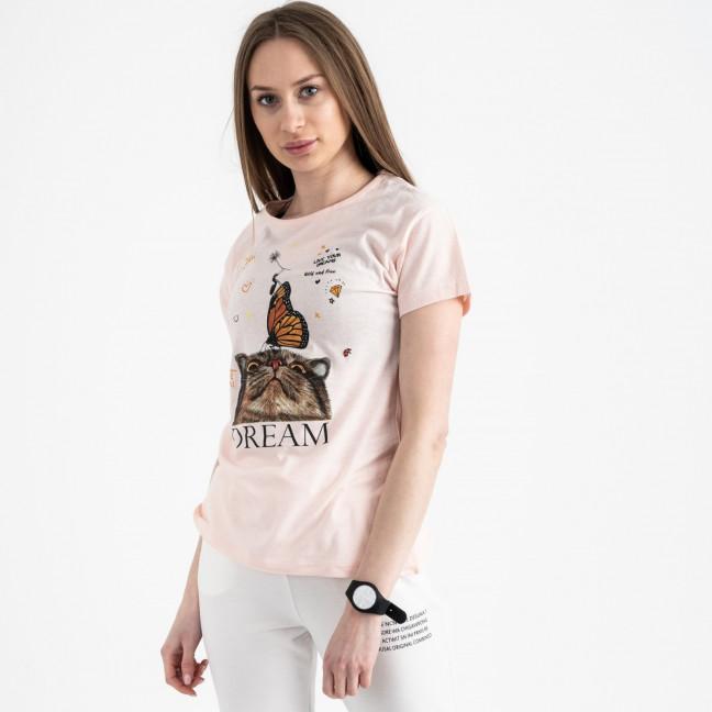2516-2 Akkaya розовая футболка женская с принтом стрейчевая (4 ед. размеры: S.M.L.XL) Akkaya: артикул 1119726