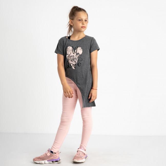 0676 футболка серая на девочку 6-8 лет (3 ед размеры: 116.122.128) Маленьке сонечко: артикул 1121941
