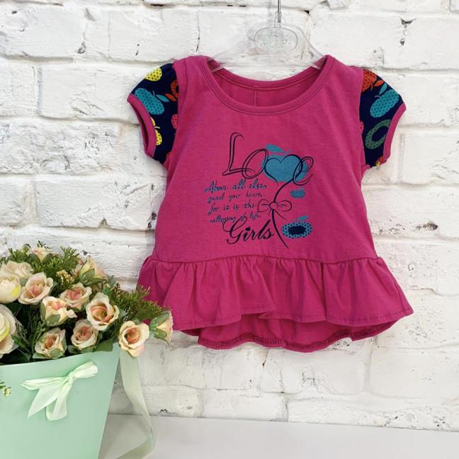 0671 А футболка розовая с принтом на девочку 6-18 месяцев (3 ед. размеры: 74.80.86) Маленьке сонечко: артикул 1121529