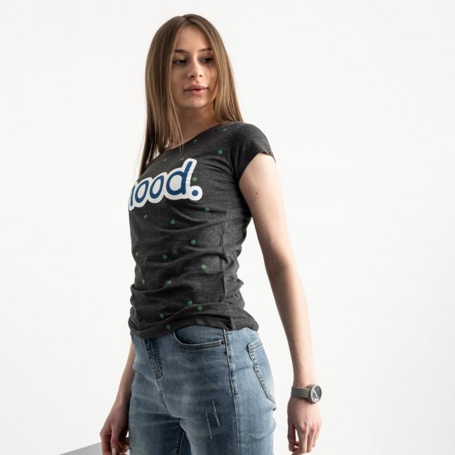 2588-7 Geso темно-серая футболка женская с принтом (4 ед. размеры: S.M.L.XL) Geso: артикул 1119241