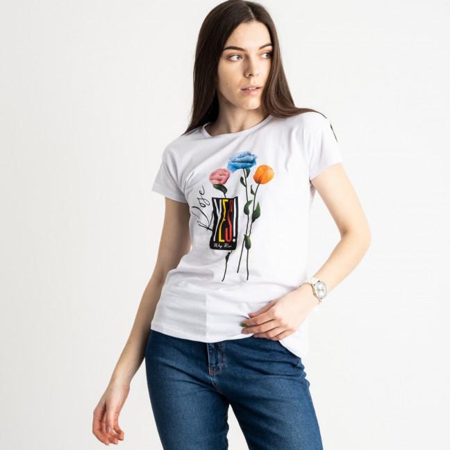 2582-10 белая футболка женская с принтом (3 ед. размеры: S.M.L) Футболка: артикул 1119209