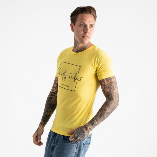 2603-6 желтая футболка мужская с принтом (4 ед. размеры: M.L.XL.2XL) Футболка: артикул 1120908