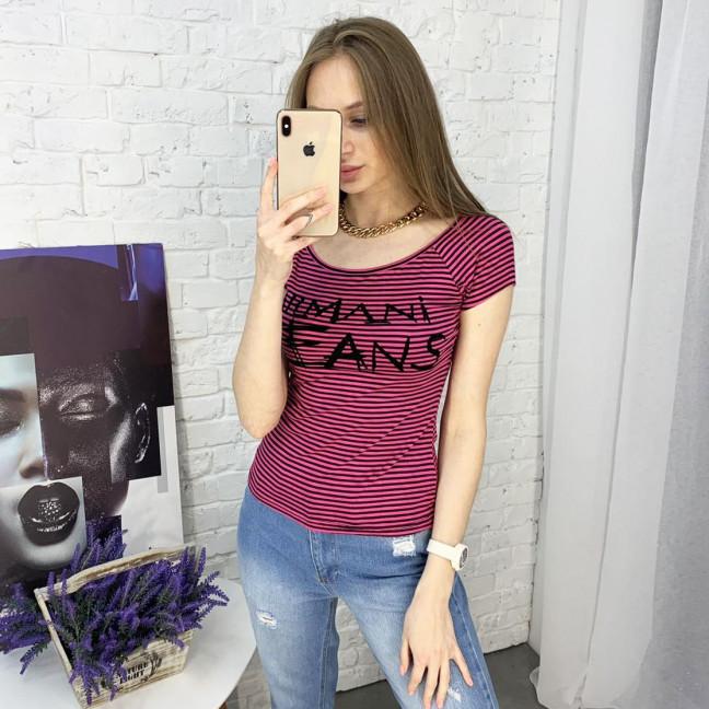 2458-21 малиновая футболка хлопковая женская в полоску (5 ед. размеры: универсал 44-48) Футболка: артикул 1122132